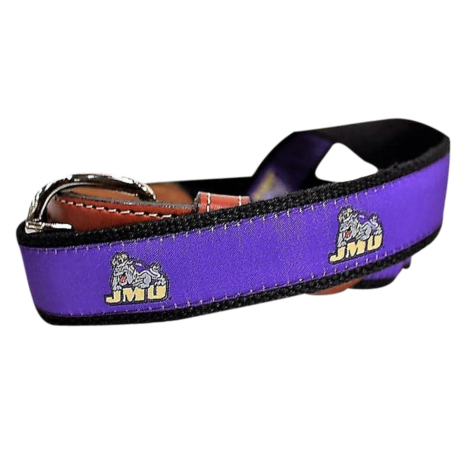 James Madison University JMU Men's  Web Leather Belt
