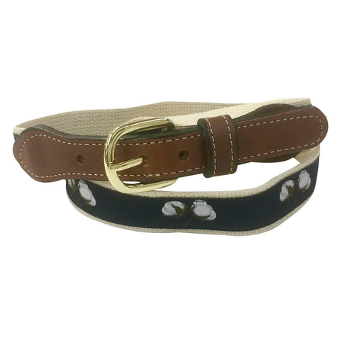 Cotton Balls Web Leather Belt