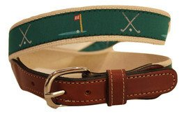 Golf Clubs  Green Ribbon  Men's Cotton Web Leather Belt
