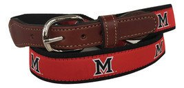 Miami University of Ohio Men's  Web Leather Belt