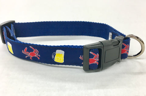 Beer and Crabs  Dog Collar