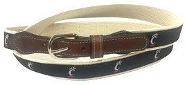 University of Cincinnati ribbon Men's  Web Leather Belt