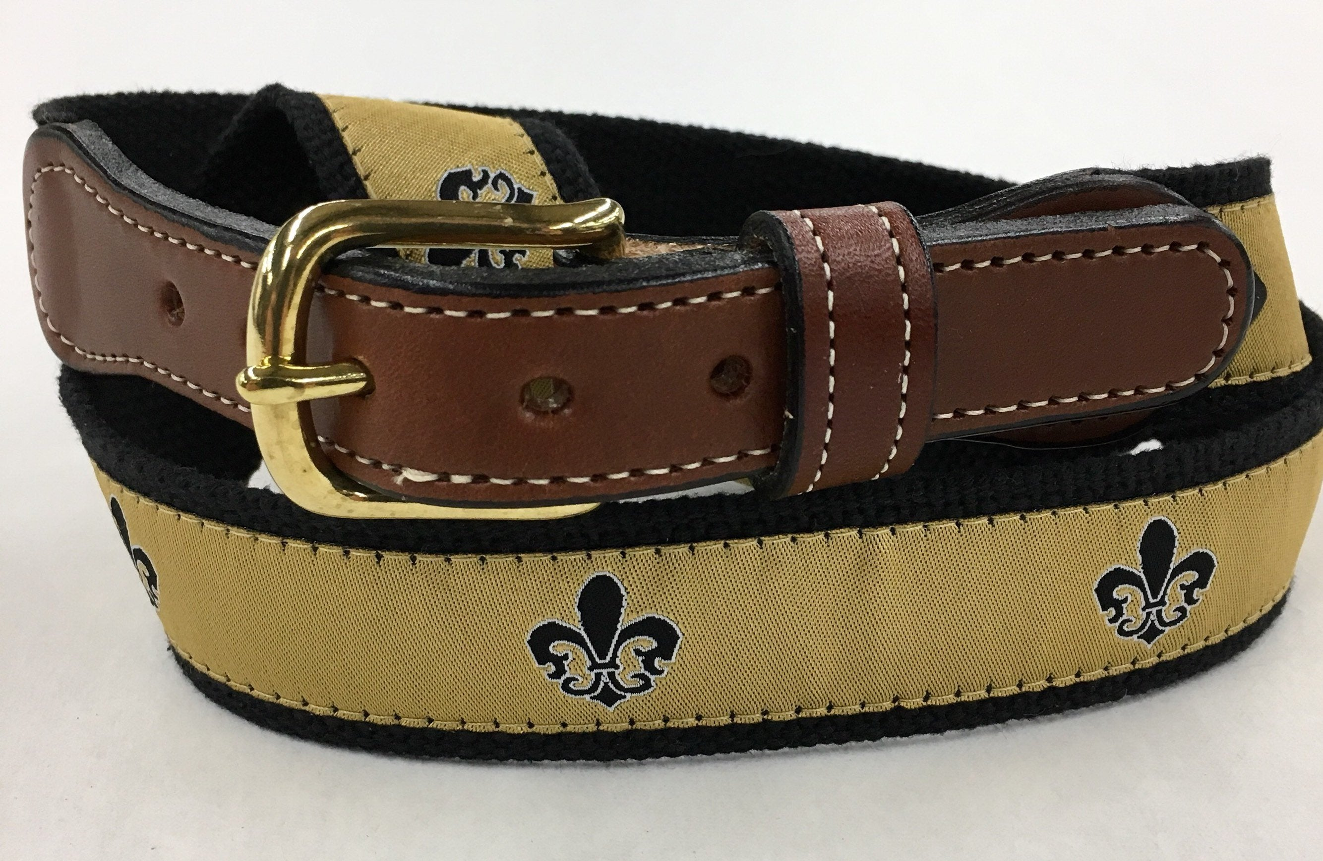 Fleur-de-lee ( Fleur-de-lis) ribbon Web Leather Belt