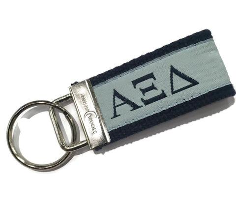 Greek Letter Alpha Xi Delta Sorority  Web Key Chain Fob.  Officially Licensed Accessories.