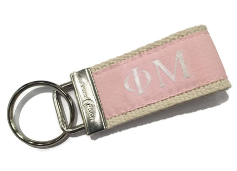 Greek Letter Phi Mu Sorority  Web Key Chain Fob. Officially licensed Greek Accessories