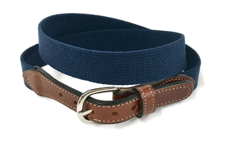 Navy Cotton   Men's Web Leather Belt