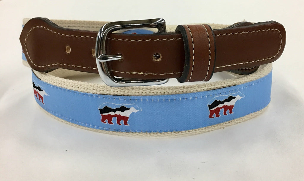USA Bear Design Web Leather Belt