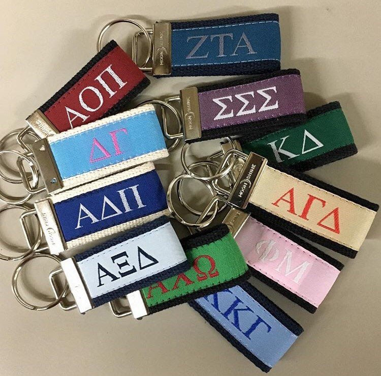 Greek Letter Alpha Gamma Delta Sorority Web Key Fob Chain. Officially Licensed Greek Accessories