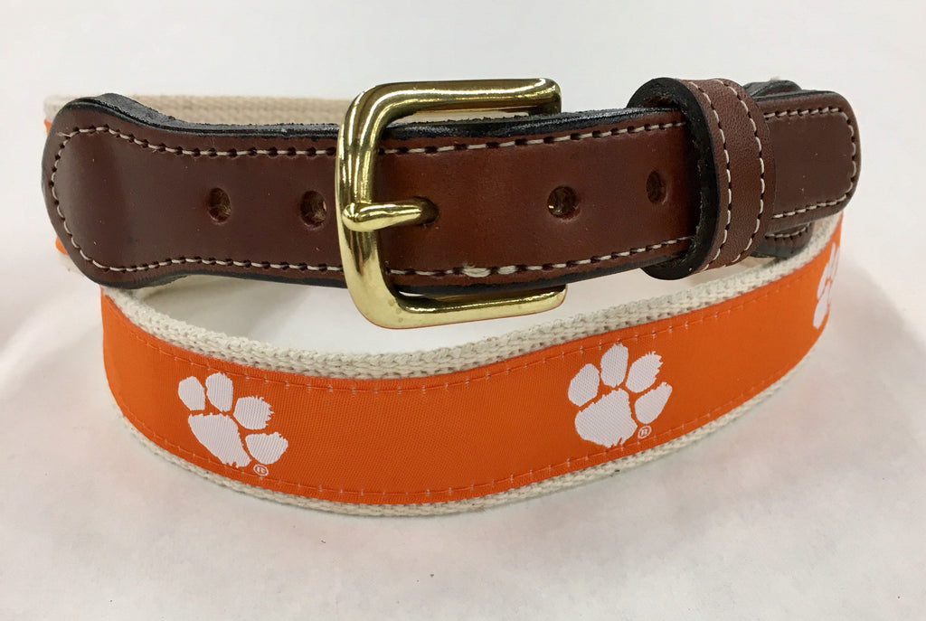 Clemson OrangeTigers Woven Ribbon Natural Cotton Web Leather Belt