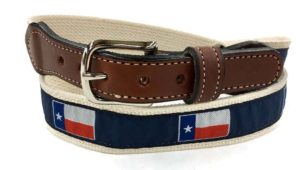 Texas State Flag ribbon Web  Leather Belt