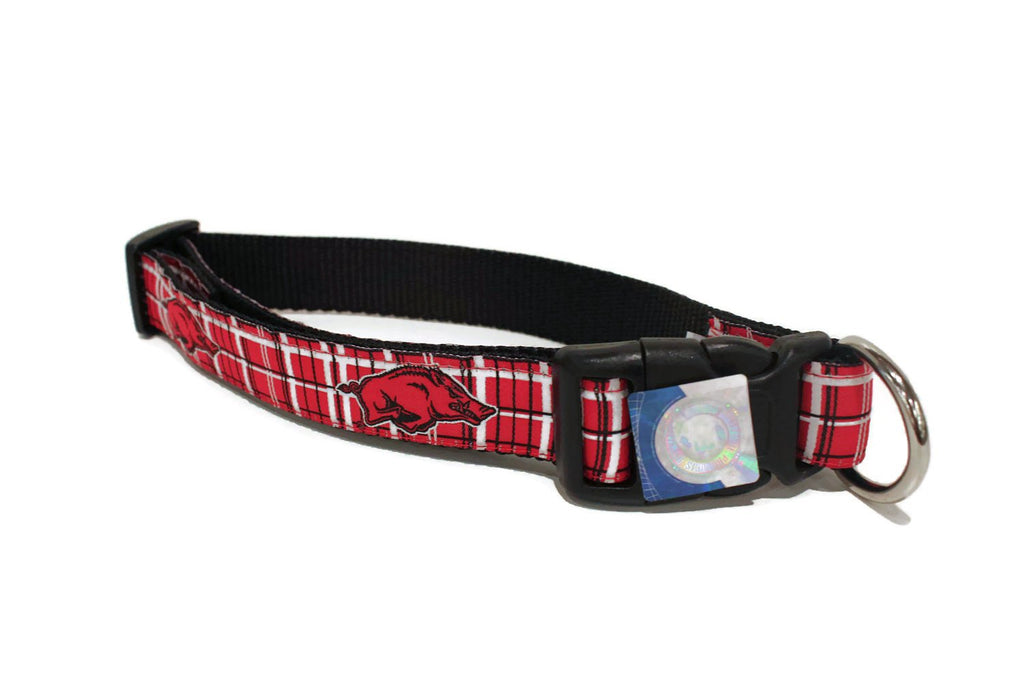 University of Arkansas Plaid  Dog Collar