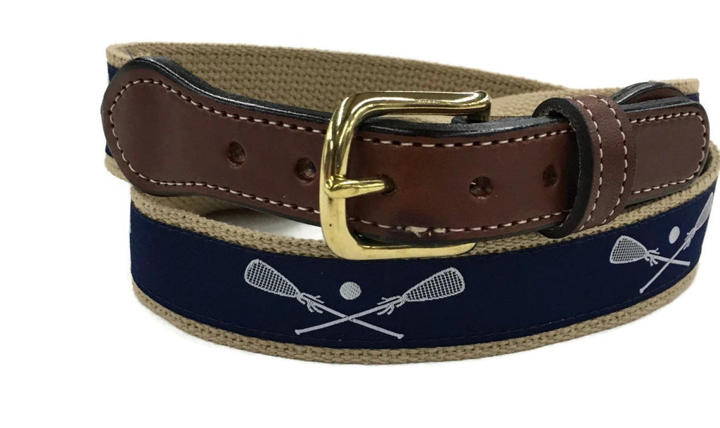 Lacrosse ribbon cotton Web Leather Belt