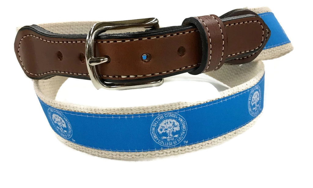 The Citadel Seal ribbon Cotton Web Men's  Leather Belt