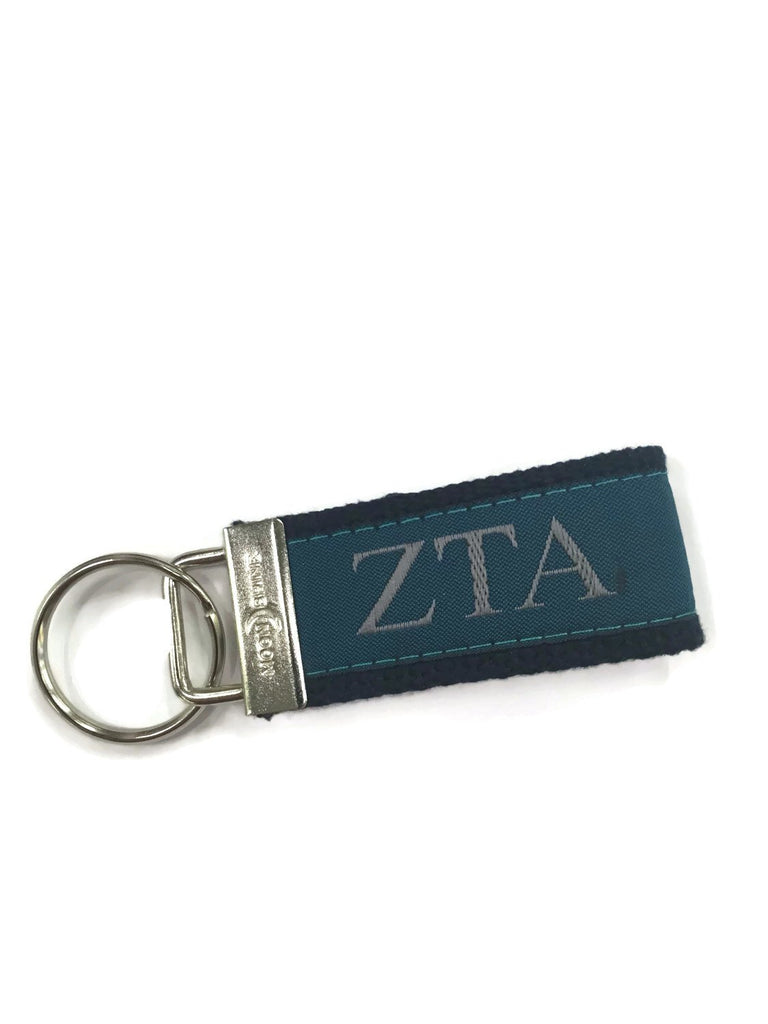 Greek Letter Zeta Tau Alpha ZTA  Sorority Web Key Chain Fob.  Officially Licensed Greek Accessories.