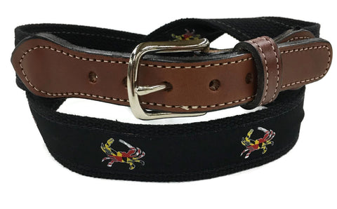 Maryland Flag Crab ribbon Web  Leather Belt