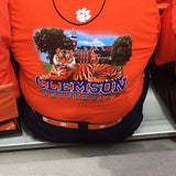 Clemson Tigers ribbon belt with webbing and Leather Belt ends. Officially licensed Clemson University product.