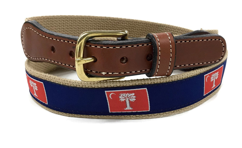 South Carolina Big Red Flag  Men's  Web Leather Belt. Many colors and designs.