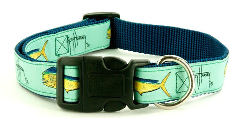 Guy Harvey Bull Dolphin Dog Collars- From Navy, Pink & Seaform