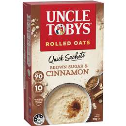 Uncle Tobys Rolled Oats Quick Sachets Brown Sugar & Cinnamon (10x pack)