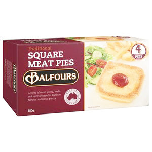 Balfours Frozen Traditional Square Meat Pies 680g (4 pack), $7.90ea