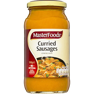 MasterFoods Curried Sausages 500g, $3.70ea