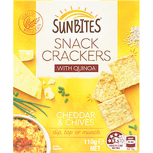 Sunbites Snack Crackers With Quinoa Cheddar & Chives 110g, $3.00ea