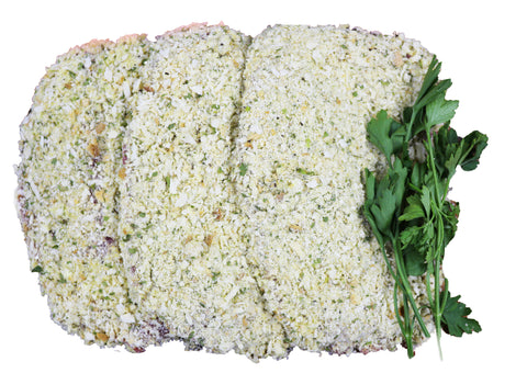 Crumbed Veal Schnitzel with Parmesan, Spinach and Pepper