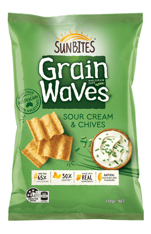 Sunbites Grain Waves Wholegrain Chips Sour Cream & Chives 170g