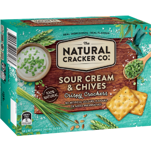 The Natural Cracker Co. Sour Cream & Chives Crispy Crackers, 160g