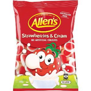 Allen's Strawberries & Cream 190g, $3.00ea