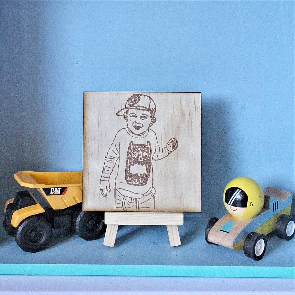 Wood Sketch plaque - Square