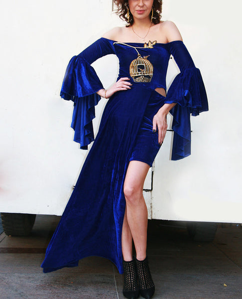 The Off Shoulder Blue Dress