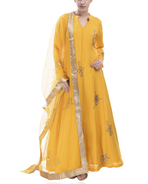 Bright Yellow Anarkali