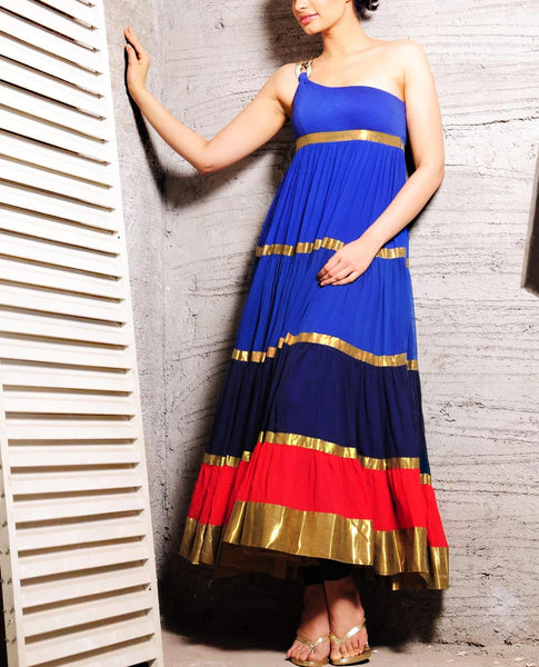 Layered Blue Anarkali