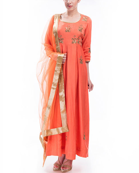 Peachy Delight Anarkali