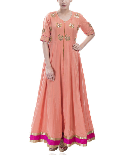 Preppy Peach Anarkali