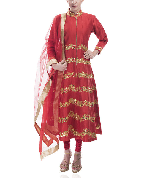 Red High-Neck Anarkali