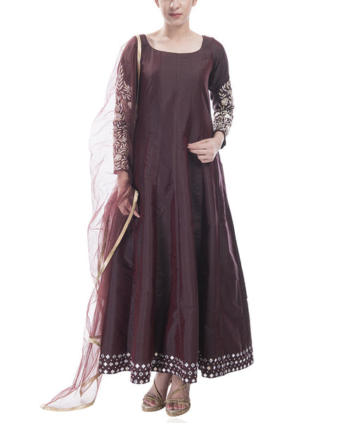 Wine Colored Anarkali