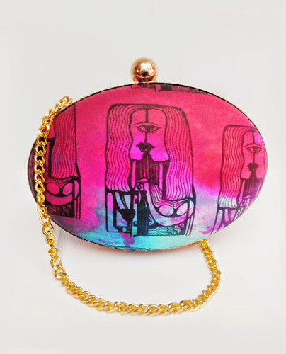 One Eyed  Round Box Clutch