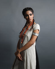 Dresses - Extreme High Low Colour Block Linen Dress