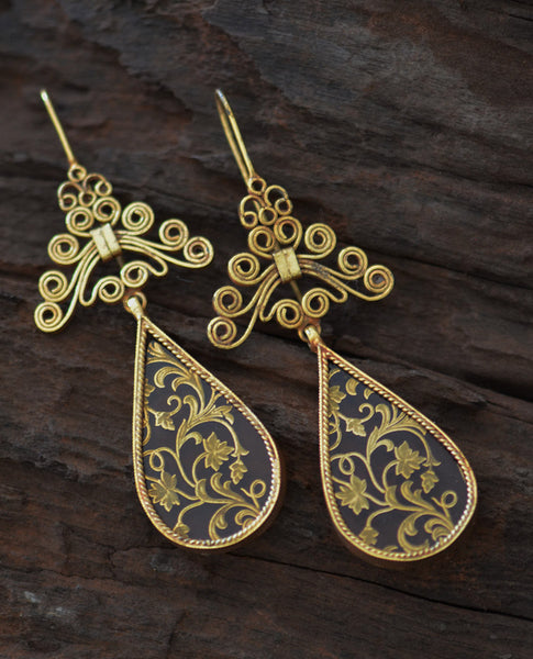 Ethno-Ochre Silver Earrings