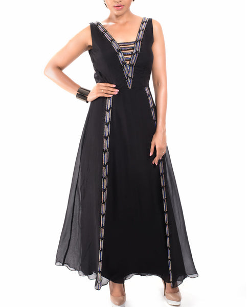 Black Gown with Ikat Inlay