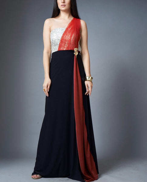 Colour Block Evening Gown