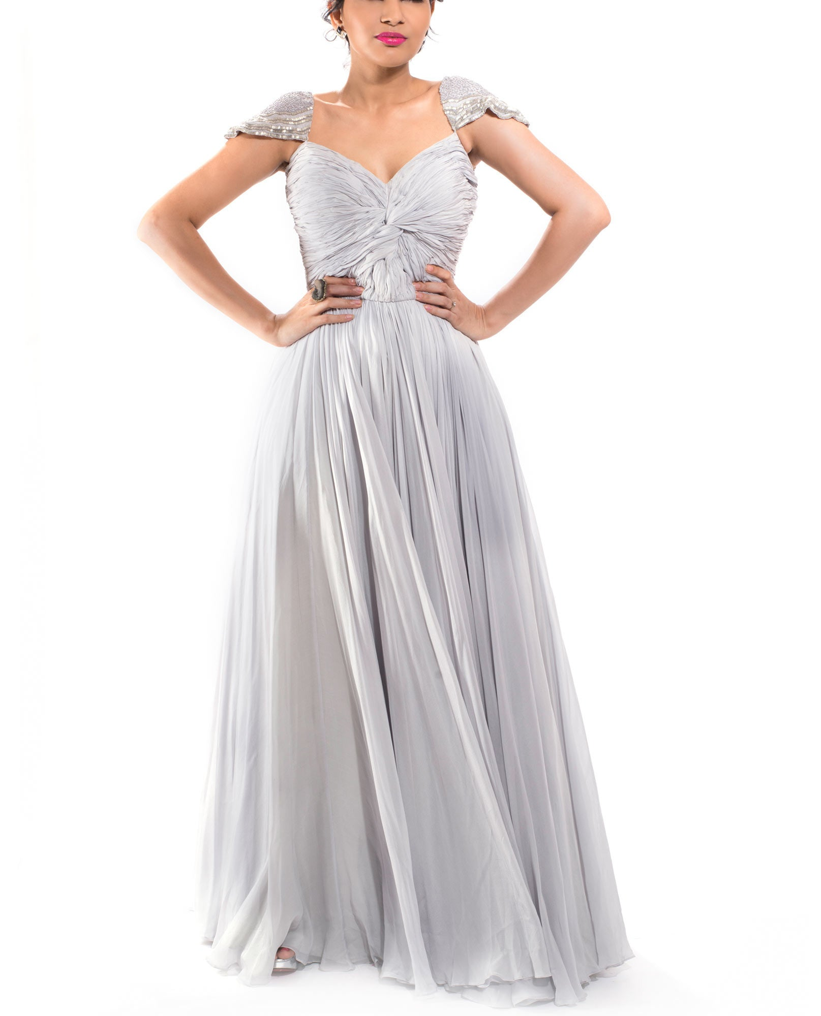 Evening Gowns - Grey Rouching Gown