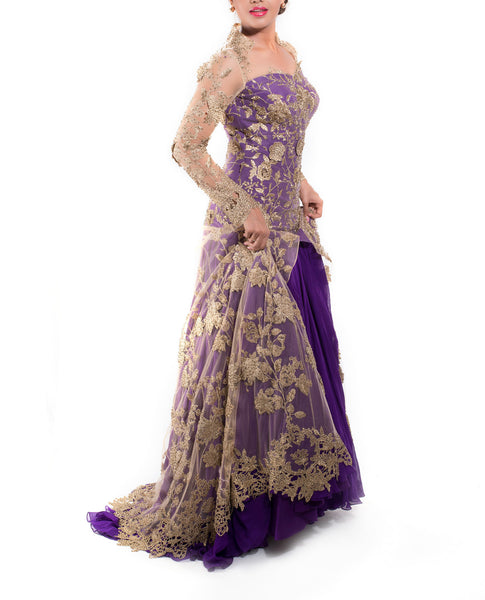 Purple & Gold Bridal Gown