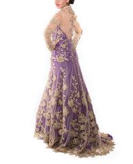 Evening Gowns - Purple & Gold Bridal Gown