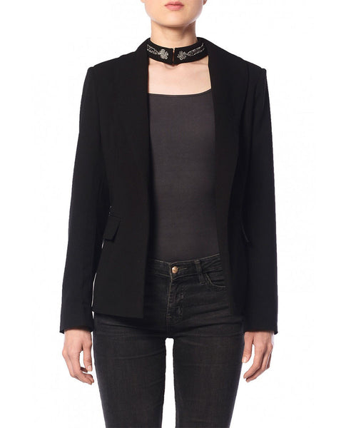 Blazer With Embroidered Choker