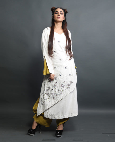Embroidered Long Kurta With Draped Pants