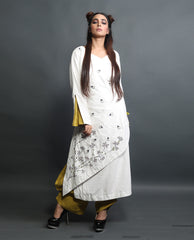 Kurta Set - Embroidered Long Kurta With Draped Pants