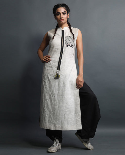 Long High Slit Kurta With Draped Pants